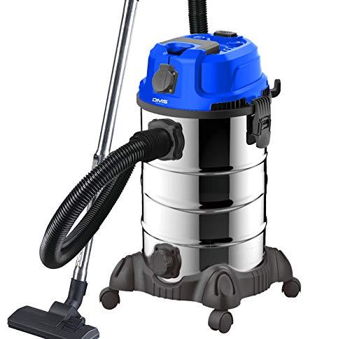 DMS® Industriestaubsauger für Nass u. Trocken Sauger | Edelstahl 2300W + Steckdose | starke Saugkraft | Blasfunktion | trocken und nass saugen | Filterreinigungssystem | großes Fassungsvermögen (Blau)