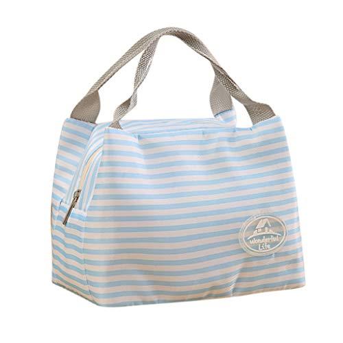 LILIHOT Isolierte kalte Lunchtasche Leinwand Streifen Picknick-Tragetasche Thermal Portable Lunch Bag Lunchpaket Kühltasche Kühlbox Lunchtasche Mittagessen Tasche Picknicktasche