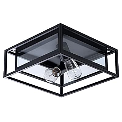 VILUXY Contemporary Rectangle Flush Mount Ceiling Light Fixture with Black Shade for Hallway, Entryway, Passway, Dining Room, Bedroom, Balcony Living Room Two-Light
