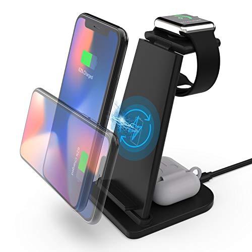 ワイヤレス充電器 充電ステーション 携帯電話充電スタンド 折り畳み式 急速充電ベース 3 in 1多機能 QI 15W無線チャージャー スマホ 15W /10W/7.5W/5W無線充電器 はiPhone 12/11/11 Pro Max/XR/XS Max