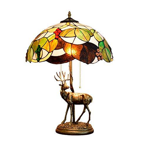 ZGQA-GQA 16 Pulgadas de Tiffany Glass Room Living Comedor Dormitorio Mesita de luz de la lámpara de UVA Pantalla Elk aleación Ligera Base Cubierta Tiffany Lámparas de Mesa