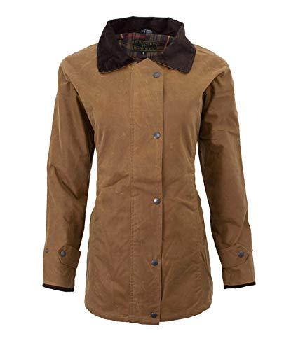Walker & Hawkes, giacca da caccia da donna, in tela cerata, colore beige Beige 42
