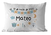 Cojín Natalicio Datos de Nacimiento personalizado 50x30 cm, para niño niña de color a escoger, regalos originales y únicos, ideal para regalo de nacimiento y decoración habitación bebé infantil