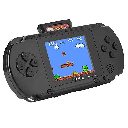 Ymiko PXP3 Slim Station 16-Bit tragbarer Handheld-Spielekonsole mit 2 Spielkarten, 999888 Spiele