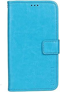 جراب جلدي قلاب بمحفظة من الجلد الصناعي مع فتحة بطاقة لدوجي X95 (أزرق سماوي) من كيس بوكس