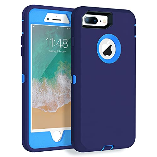 MXX iPhone 8 Plus Case, Heavy Duty Defense Case with Screen Protector [4 Layers] Rugged Rubber Shockproof Protection Case Cover for iPhone 7 Plus/iPhone 8 Plus [5.5 inch] - Blue/Blue