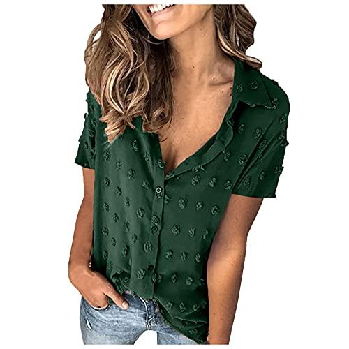 Aobliss Zomerblouse voor dames, V-hals, chiffon, korte mouwen, buttondown, revers, hemd, tops