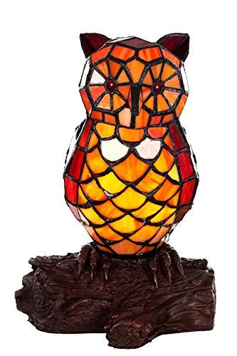 Lampe im Tiffany-Stil Figurenlampe Katze, Fisch, Pferd Schmetterling Dekorationslampe, Tiffany Stil, Glaslampe, Leuchte,Tischlampe, Tischleuchte (Eulen-Motiv rot)