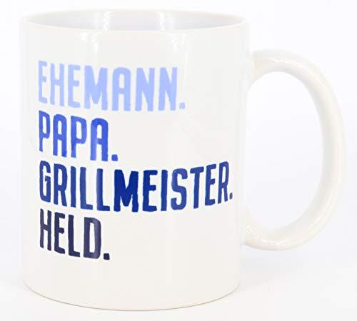 Tasse mit Spruch Ehemann, Papa, Grillmeister, Held, Vatertagsgeschenk, Kaffeetasse, Keramiktasse, Tasse mit Spruch, Tasse Papa