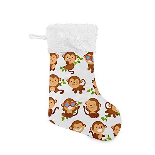 Christmas Stockings Funny Monkey Cartoons Sunglasses White Plush Cuff Mercerized Velvet Family Holiday Personalized Large Stocking Xmas Party Decorations 17.71inches (2pcs)
