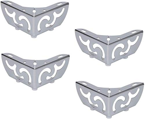 KISAD Patas de Muebles Patas de Mesa de Repuesto Muebles Estampados Pies de Hierro Cromado gabinete Plateado Patas de Mesa de café Sofá Soporte de piernas 5,5 cm