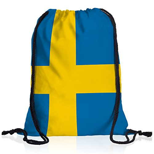 style3 Schweden Turnbeutel Rucksack Tasche Sweden Flagge WM EM Sport Beutel Festival Fahne Uni Schule Bunt