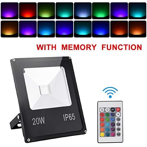 RGB LED Foco de Colores 20W, Bellanny Con memoria IP65 con Control Romoto Impermeable 16 Colores Proyector LED 4 Modos de Brillo,Decoración para Jardín,Navidad [Clase de eficiencia energética A]
