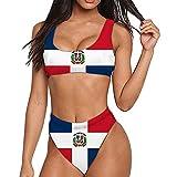 PrelerDIY Dominican Flag Women's High Waisted Swimsuit Crop Top Cheeky Two Piece High Leg Bikini Beach Bathing Suit L