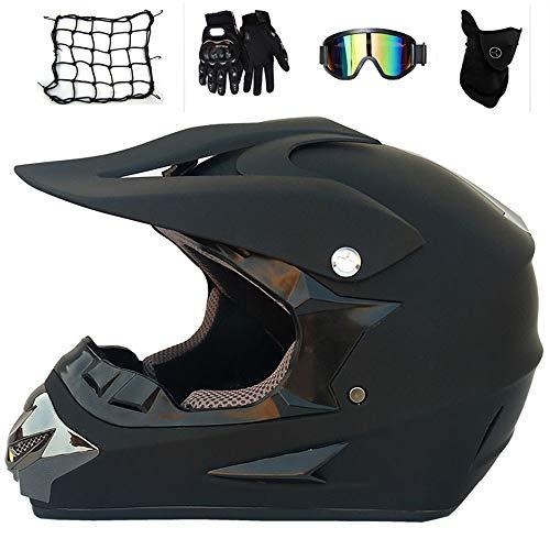 MRDEAR Fullface Motocross Helm mit Brille Handschuhe Maske Motorrad Netz, Adult Motorradhelm Cross Helme Mountainbike Off Road MTB Cross-Country-Helm ATV für Herren Damen, Matt Schwarz,XL