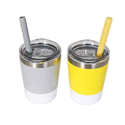 Sippy Cups for Toddlers, 2 Pack of 8.5 OZ Toddler Cups, Housavvy Kids Cups with Straws and Lids BPA Free Double Wall Insulated Stainless Steel Easy Cleaning and Dishwasher Safe (Grey/Yellow)