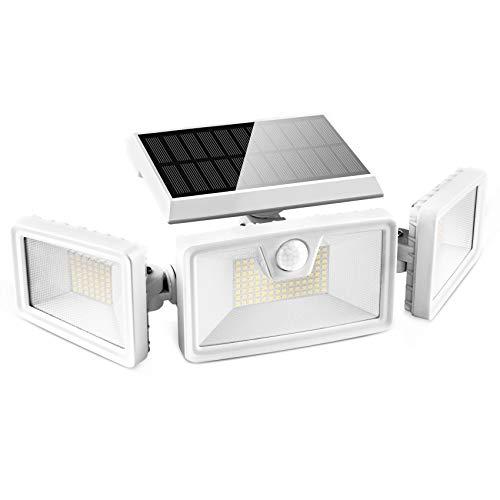 Otdair Luz Solar Exterior, 188 LED Lámpara Solar de Seguridad con Sensor de Movimiento, 3 Modos Foco de Pared Exterior Impermeable IP65 para Jardín, Entrada, Patio, Blanco, 1 Pack