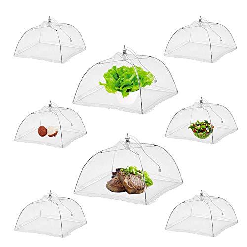 NEPAK 8er Fliegenhaube Abdeckhaube Essen,Faltbare Kuchenabdeckung Fliegenschirm Lebensmittel Abdeckung,Zelt vor Insekten schützen,43 x 43cm,Weiß