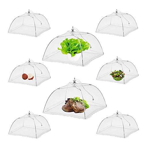 NEPAK 8 Pack 17 Inches Food Covers for Outside,Large Pop-Up Mesh Food Tent Umbrella,Camping Food Net Cover, for Outdoors,Screen Tents, Parties Picnics, BBQs,Keep Bugs And Flies Away From Food