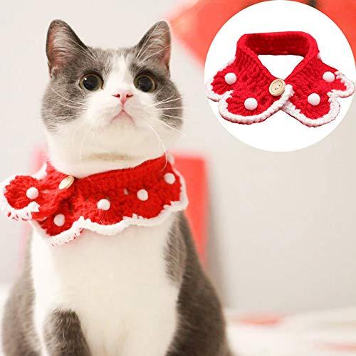 Lifreer Lindo Collar de Navidad Bufanda de punto para mascotas Lindo Collar de Navidad Bufanda de color rojo con bola de nieve blanca, Disfraz para perros y gatos (medio)