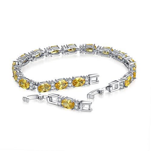 U.Shine Sterling Silver Tennis Bracelet Tennis Bracelets for Women White Gold Bracelet for Women Yellow Citrine Bracelet November Birthstone Bracelet