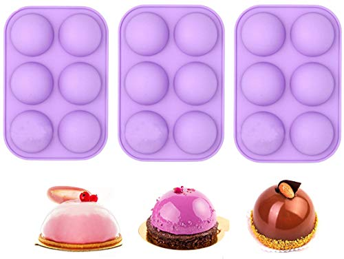 Semi Sphere Silicone Mold Chocolate Mould 3 Pack 6-Cavity Baking Mold for Making Hot Chocolate Bombs Valentine's Day Cake Jelly Dome Mousse Soap (Purple)