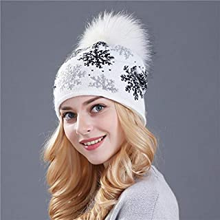 Women's Hats Mink Pom Poms Wool Rabbit Fur Knitted Skullies Winter Girls Beanies