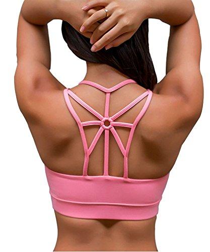 YIANNA Strappy Padded Sports Bra for Women Activewear Medium Support Workout Yoga Bra Tops, YA-BRA139-Pink-M