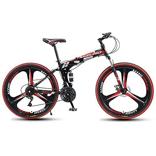 GGXX Mountain Bike Uomo Donna Bicicletta Pieghevole per Adulti Biciclette Portatili Trekking 21 24 27 velocità Doppio Freno A Disco Cambio Preciso A Sospensione Completa 24 26 Pollici