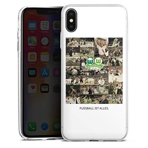 DeinDesign Slim Case extra dünn kompatibel mit Apple iPhone XS Max Silikon Handyhülle transparent Hülle Offizielles Lizenzprodukt VFL Wolfsburg Statement