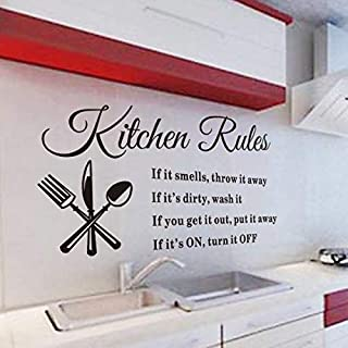 AP Kitchen Rules Living Room Kitchen Vinyl Carved Wall Stickers Letters Art Quote Decals Home Poster