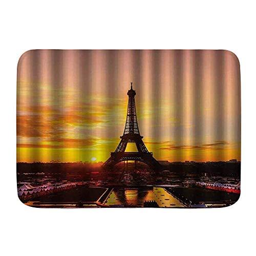 Yhouqukhdeueh Alfombrillas para baño, Vista de la Torre Eiffel al Amanecer Historia de París,con Respaldo Antideslizante,29.5