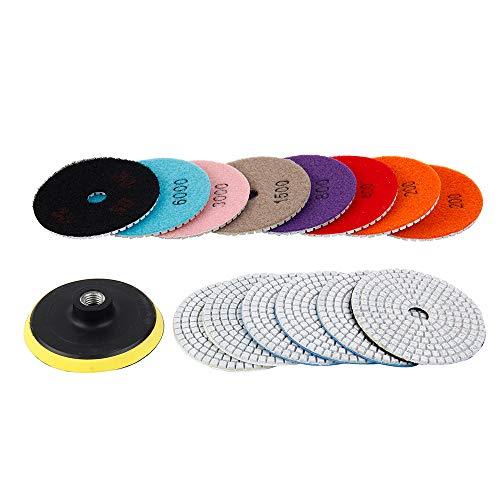15 almohadillas de pulido de diamante con rueda de pulido de 10 cm, 100 mm, mojado/seco para granito, piedra, hormigón, mármol, discos de pulido