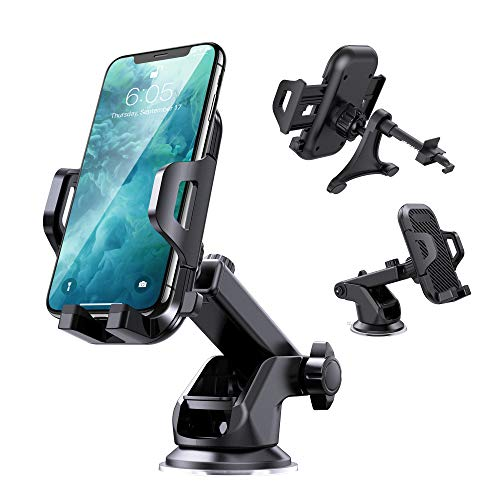 VANYUST Universal Car Phone Mount Car Phone Holder Stand for Car Dashboard Windshield Air Vent Long Arm Strong Suction Cell Phone Car Mount Compatible for iPhone SE 11 Pro X XS Max XR Galaxy