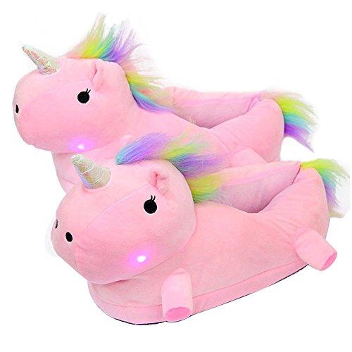 AILU Einhorn Hausschuhe Leuchtend Damen Einhorn Pantoffeln LED Plüsch Tier Hausschuhe Kinder Größe: 35-45