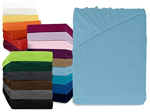 npluseins klassisches Jersey Spannbetttuch - erhältlich in 34 modernen Farben und 6 verschiedenen Größen - 100% Baumwolle, 70 x 140 cm, hellblau