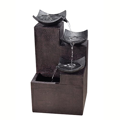 Peaktop Outdoor Garden Tiered Modern Zen Fountain, 29' Height, Dark Gray