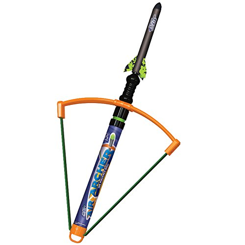 Geospace Pump Rocket Air Archer Air-Powered Bow and Rocket Set with EZ-Pull Bungee Power (1 Launcher, 3 Rockets and 4 Darts)