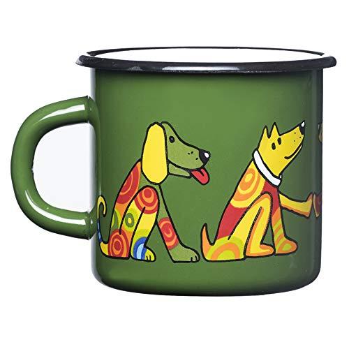 Smaltum Hochwertige grüne Emaille-Tasse mit Hund, leicht und unzerbrechlich, Kinder und Camping (350ml)