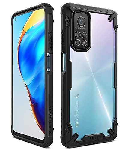 Ringke Fusion-X Kompatibel mit Xiaomi Mi 10T Pro Hülle, Kompatibel mit Mi 10T 5G Schutzülle, Durchsichtig Rückseite mit Kettenloch im Rand Schutz Rahmen - Schwarz
