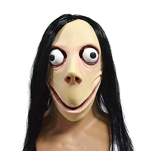 Máscara Momo, Mask Momo Máscara Halloween de Látex Halloween Mask de Payaso Terror Máscara para Adultos y Niño Creppy Disfraz de Fiesta Cosplay Espeluznante Mask Horror Costume (B)
