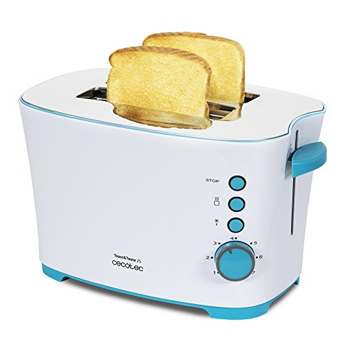Cecotec Toast&Taste 2S - Tostadora, 7 Niveles de Potencia, Capacidad para 2 Tostadas, 3 Funciones(Tostar, Recalentar, Descongelar), Incluye Pinzas, Bandeja Recogemigas, 650 W