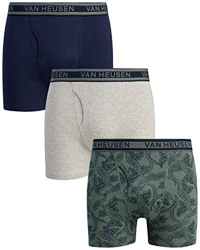 Van Heusen Herren Baumwolle Boxershorts Unterwäsche mit Funktionsschlitz (3er Pack) - - Large