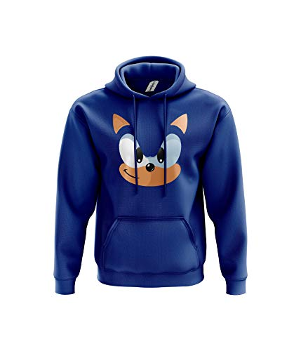Blue Hedgehog Hoodie - Video Game Movie Film TV Show 80% Ringspun Cotton Comfy 80% Ringspun Cotton 20% Polyester Kangaroo Pouch Pocket Twin-Needle Stitching Detailing (7-8 Years, Blue)
