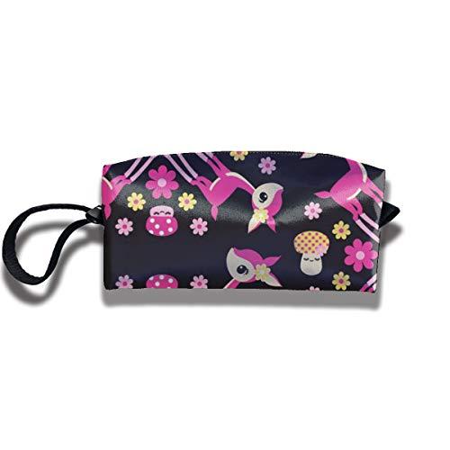 Bbhappiness Pouch Handbag Cosmetics Bag Case Purse Travel & Home Portable Make-up Receive Bag Deer Mushrooms Kaleidoscope