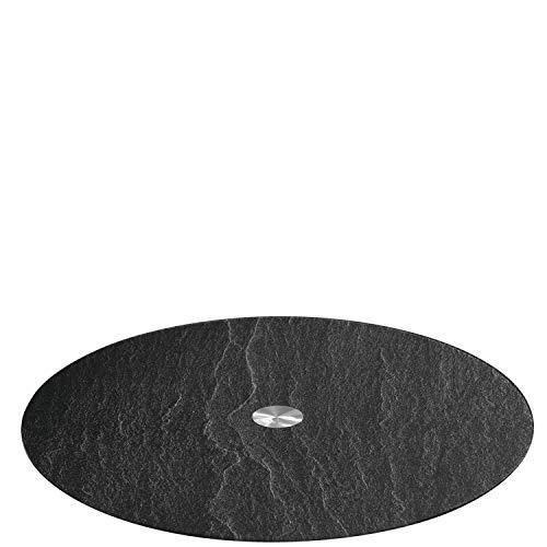 LEONARDO HOME 018700 TURN Platte 32,5 cm schwarz Schieferoptic, Glas