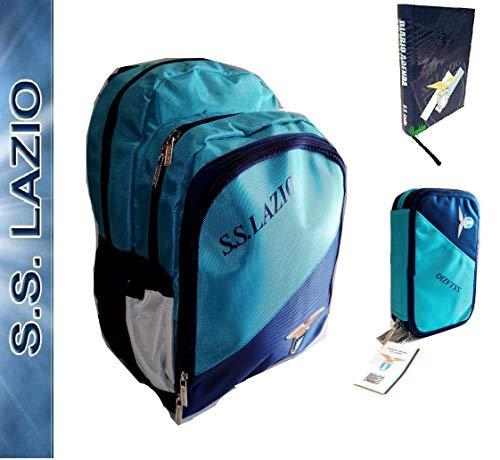 Lazio Zaino Scuola SS Ufficiale + Astuccio 3 Piani Pieno + diario + Omaggio portachiave Fischietto + 10 Penne Colorate + segnalibro
