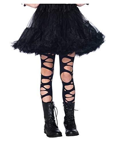Horror-Shop Zerfetzte Kinderstrumpfhose Schwarz als Kostümzubehör für Halloween und Fastnacht L