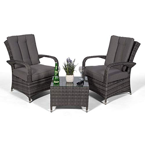 Ultra Stylish Arizona Rattan 2 Seat Arm Chair set & Small Glass Table + Cushions + Dust Cover Armchair Garden Patio Conservatory Lounge Furniture (Assembled) (Grey)