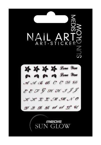 Medis Sun Glow Nail Art-Sticker ABC Schwarz/Pink, Motiv 4150, 4er Pack (4 x 1 Stück)